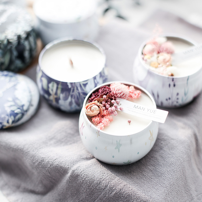 1set Candle Aromatherapy Iron Box Round Shape DIY Candle Container Handmade Candle Material Just Box