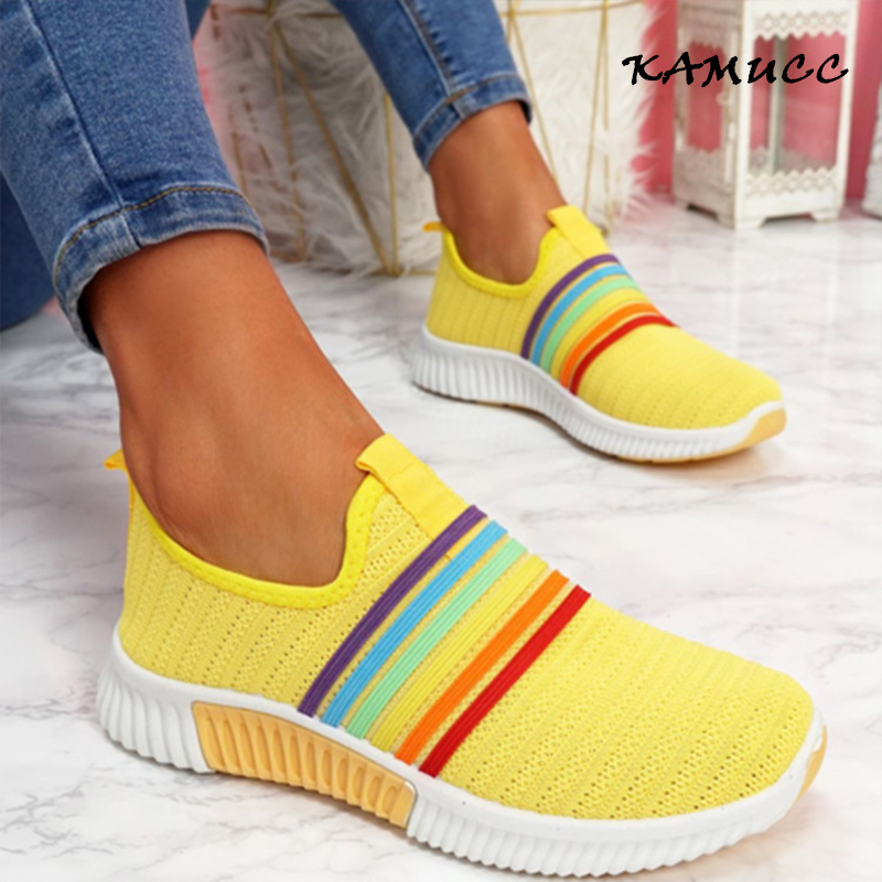2020 New Fashion Women Sneakers Rainbow Color Handmade Mesh Vulcanize Leisure Shoes Low top Summer Casual Ladies Shoes Girl Plus