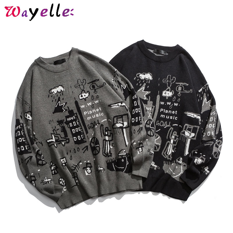 Mens Sweaters New 2019 Autumn Funny Print Cartoon Pullovers Sweaters Loose Fashion Knitted Sweater Men Casual Warm Chic Men Tops