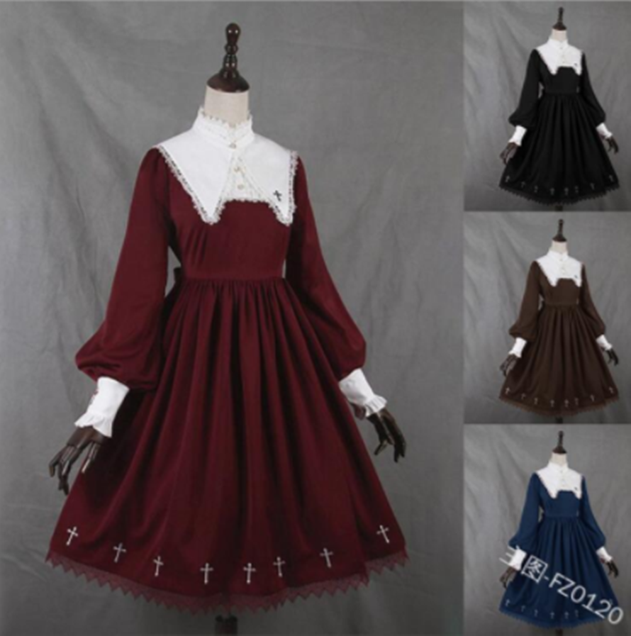 Kawaii Girl Gothic Medieval Gothic Vintage Sweet Lolita Dress Lace Stand Puff Sleeve High Waist Victorian Dress Lolita Op Loli