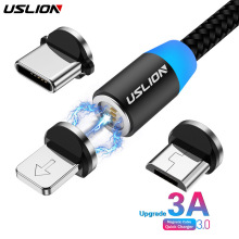 USLION 3A Fast Charging Magnetic USB Cable Type C Micro Cable LED Nylon Braided Type-C Magnet Charger For Iphone XS 7 Samsung 1M недорого