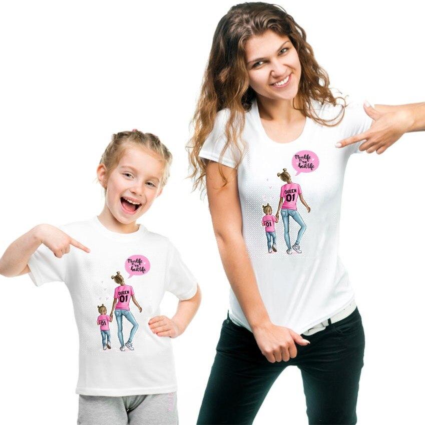 Новая семейная футболка с принтом Одежда «Мама и я» Семейные комплекты с короткими рукавами QT-1924 - Цвет: Флуоресцентный зеленый