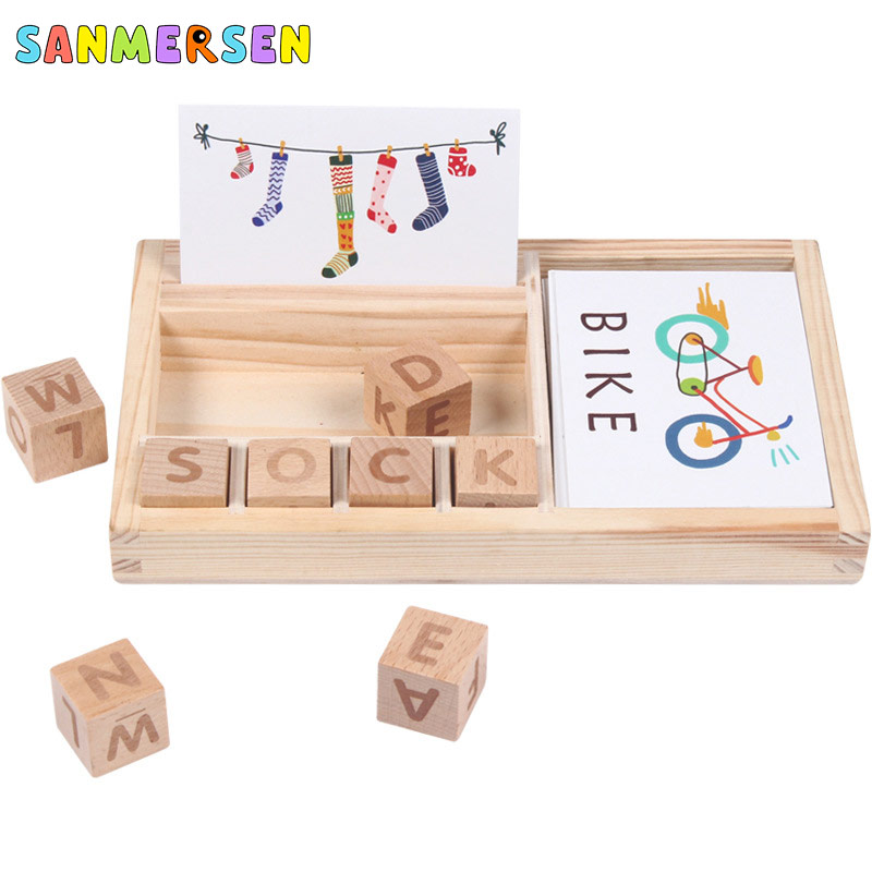 Montessori Children Learn Wooden Toys Spelling English Word Game Letters Cardboard Teaching Spell Word Building Blocks For Kids