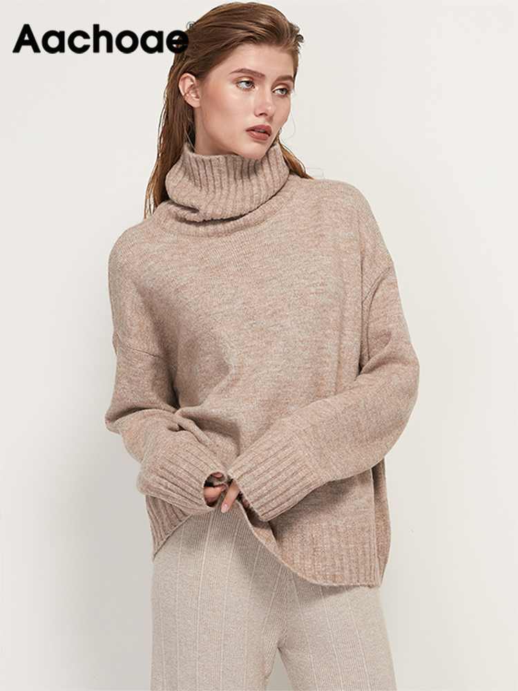 Cashmere Sweater Jumper Loose-Tops Basic Pullover Knitted Turtleneck Long-Sleeve Aachoae