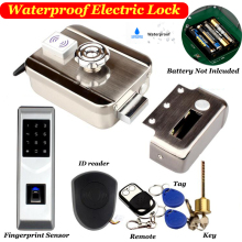 Gate Lock Battery Fingerprint-Lock Outdoor Waterproof Wiress Driven Exit-Button