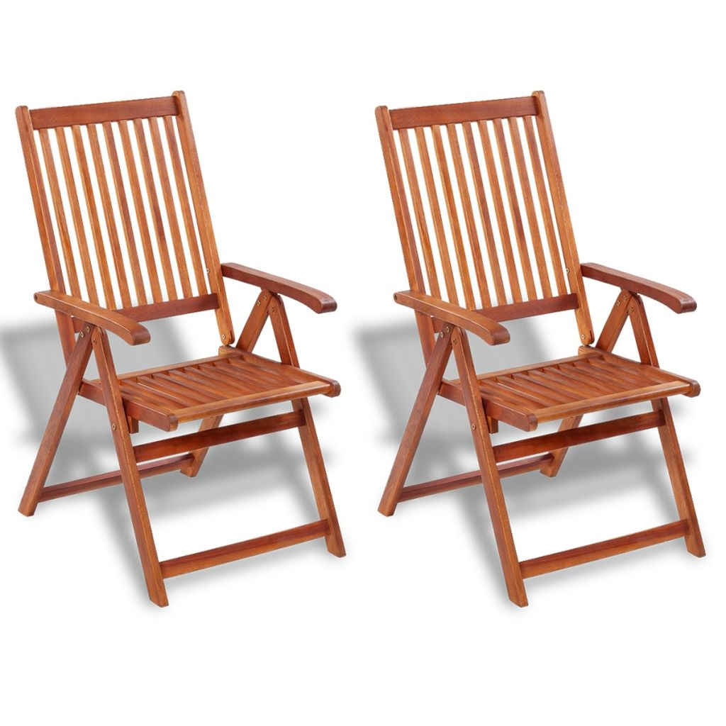 VidaXL Folding Garden Chairs 2 Pcs Solid Acacia Wood Brown