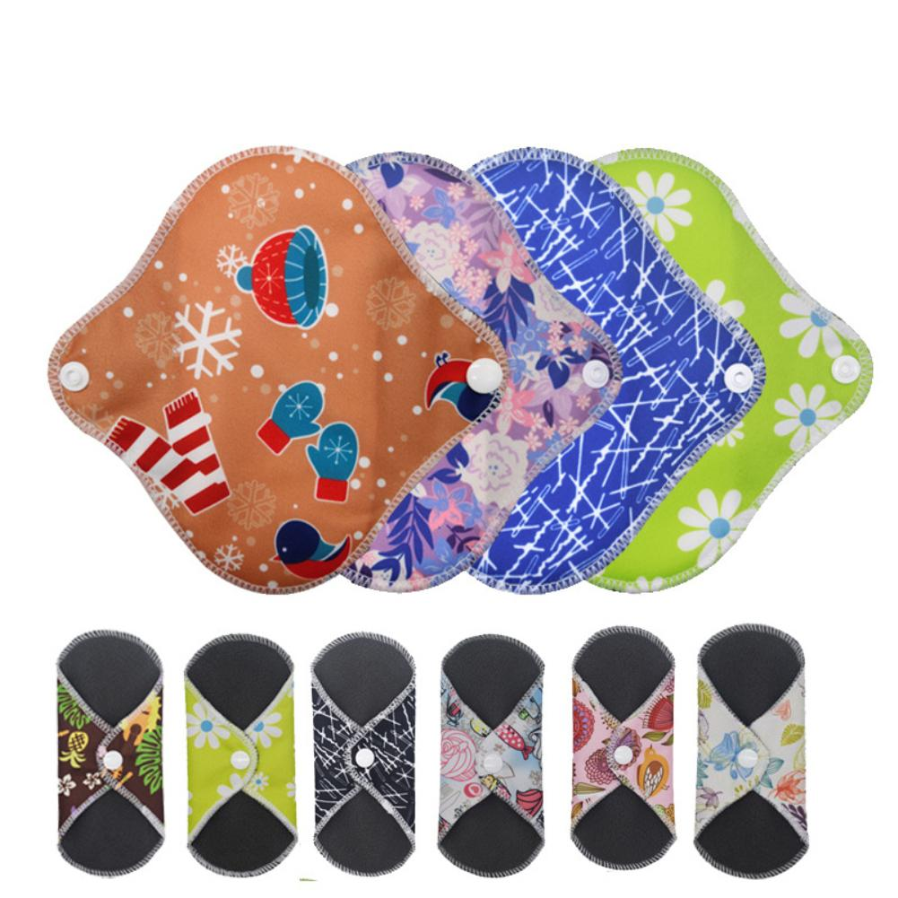 5Pcs Reusable Washable Bamboo Floral Print Menstrual Pad Sanitary Panty Liner Can Be Folded Into Small Size, Easy To Carry. Nice