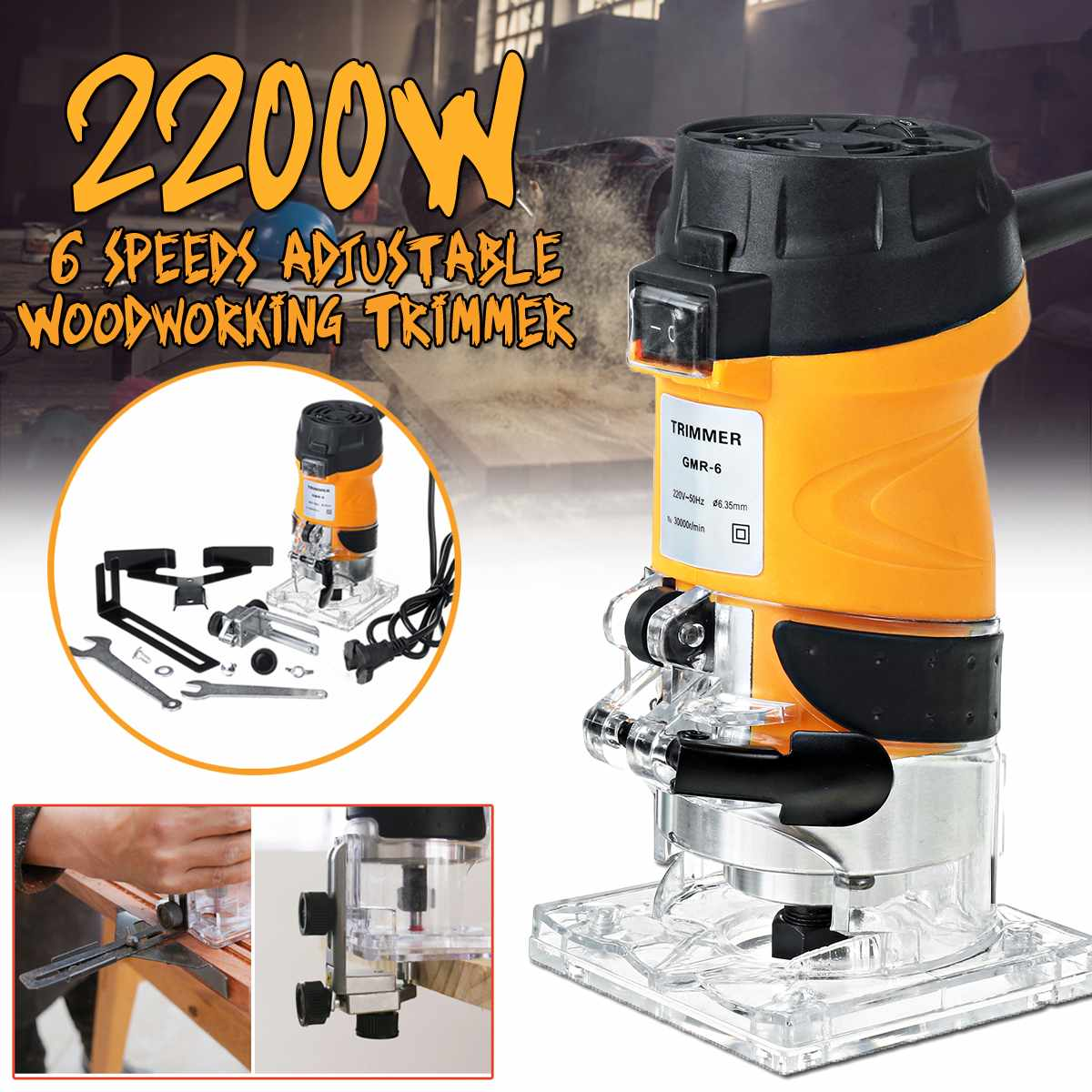 220V Wood Electric Trimmer Adjustable Electric Power Trimmer Wood Laminator Router Edge Joiners For Woodworking Wood Milling