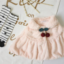 Tonytaobaby Autumn and Winter New Girl Cute Little Cherry Button Fur Cape Top