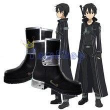 цена на Unisex Sword Art Online Sao Kirito Kirigaya Kazuto Cosplay Shoes Black Leather Boots Men Women Halloween Costumes