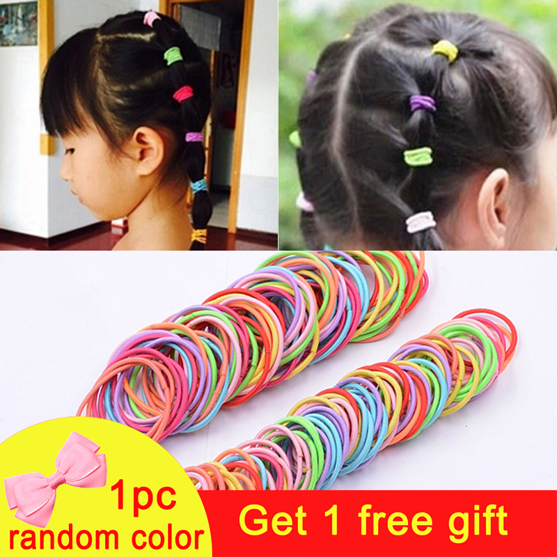 100pcs/lot Girls Rubber Bands Scrunchy Elastic Hair Bands Ponytail Holder Headband Kids Baby Hair Accessories Ties Gum For Hair