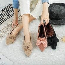 Женские лоферы повседневные женские кроссовки с бантиком на плоской подошве г. Модная женская обувь с острым носком, без шнуровки, с бабочкой, новое зимнее платье