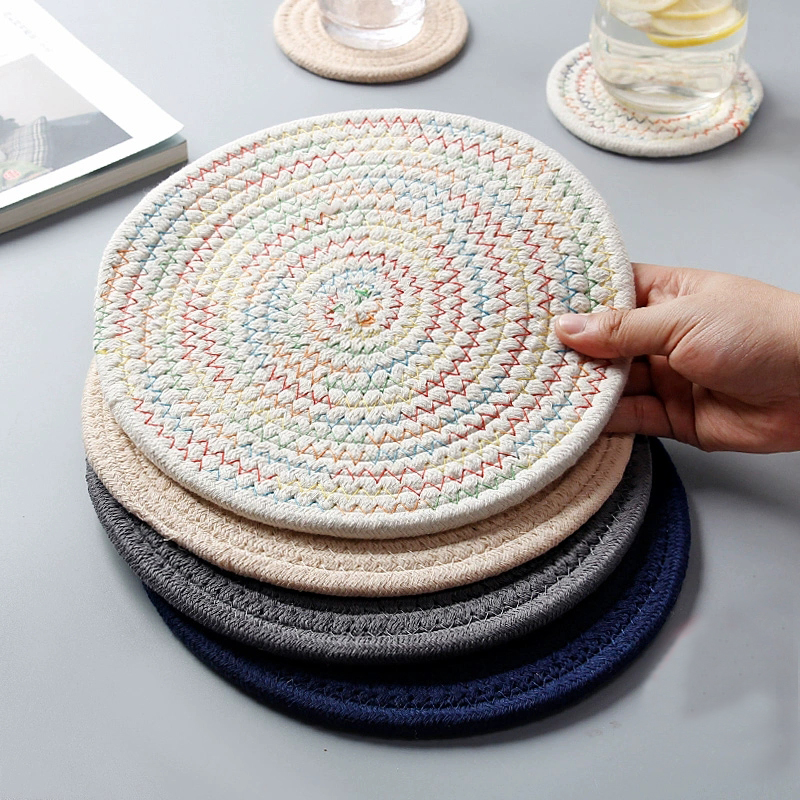 1pc Round Placemat Coaster Table Mat Cotton Linen Knitting Bowl Insulation Pad Non Slip Place Mat Kitchen Accessories Decoration
