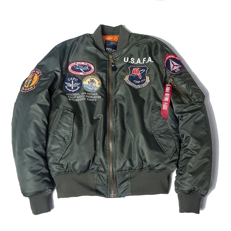 2019 A/W USAFA Vintage Pilot Bomber Flight Jacket Us Air Force Top Gun Men Clothes Brands Winter Army USN MA1 USMC Embroidery