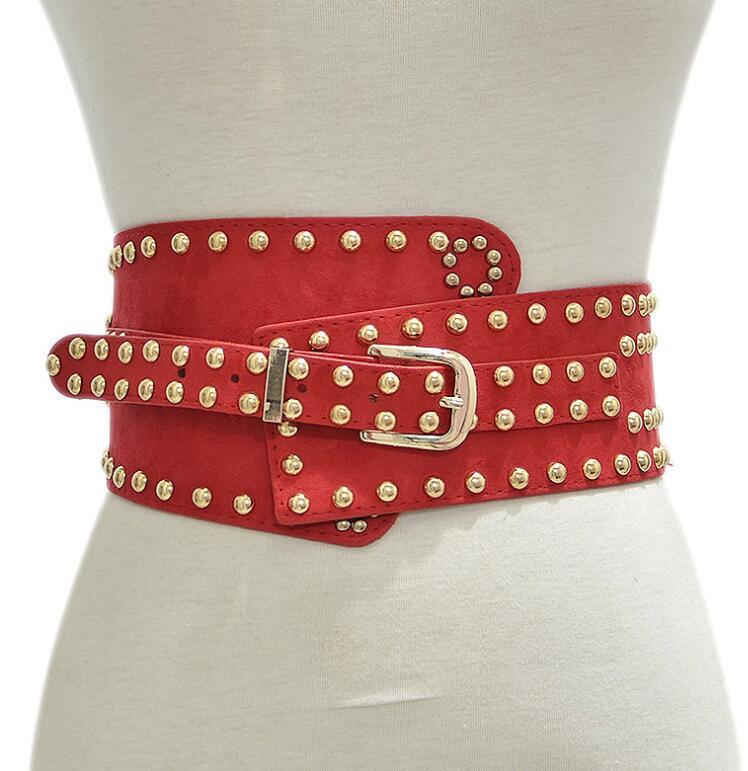 Women's Runway Fashion Faux Suede Pu Leather Rivet Cummerbunds Female Dress Corsets Waistband Belts Decoration Wide Belt R2382