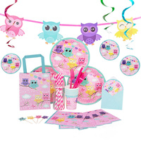 OLOEY 10 Piece Set Party Owl Theme Baby Shower Happy Birthday Children Cutlery Tray Paper Towel Wedding Party Decoration