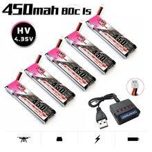 Gnb 3.8v 1s 450mah 80c/160c hv 4.35v lipo bateria + carregador para fpv racing drone m80s tiny7 beta75s emax tinyhawk snapper7 ph2.0