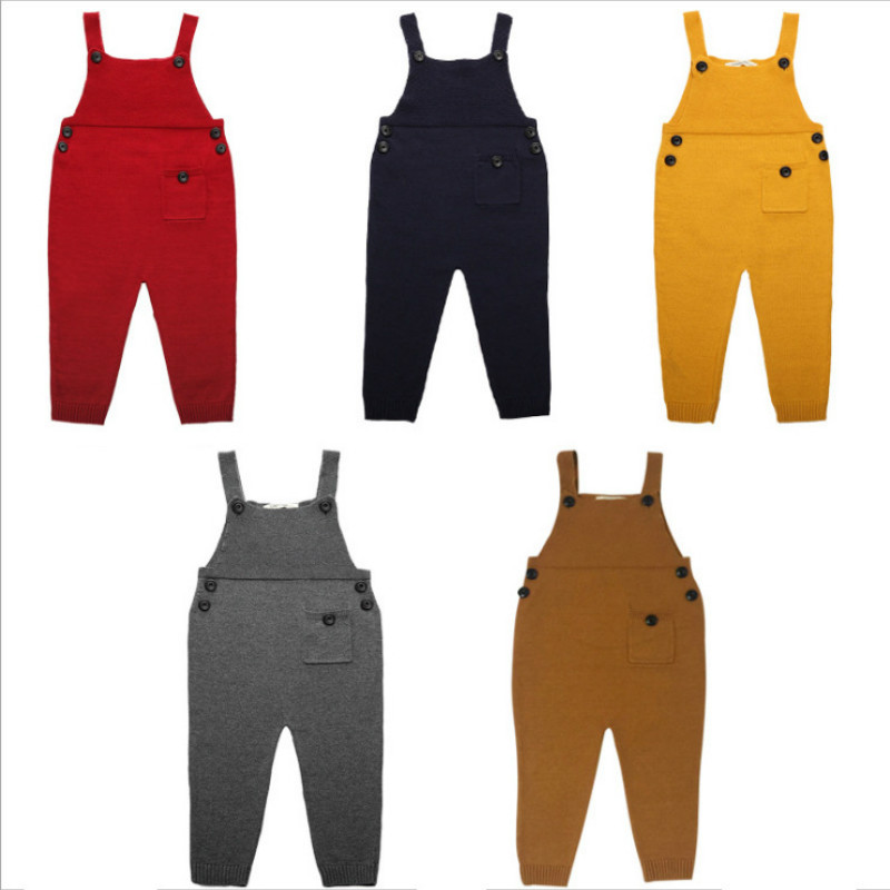 New Born Overalls for Kids Strap Harem Pants Boys Pocket Knitted Toddler Girls Jumpsuits Winter Baby Clothing Girls Overall