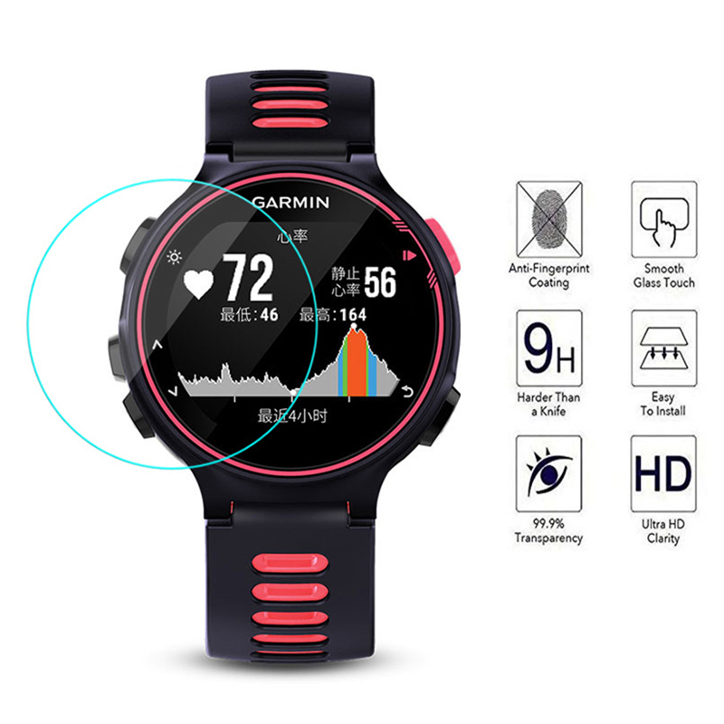 For Garmin Forerunner 645 / 935 / 735xt Watch Tempered Film 0.26mm Arc Edge Explosion-proof Watch Tempered Film Protective Cover