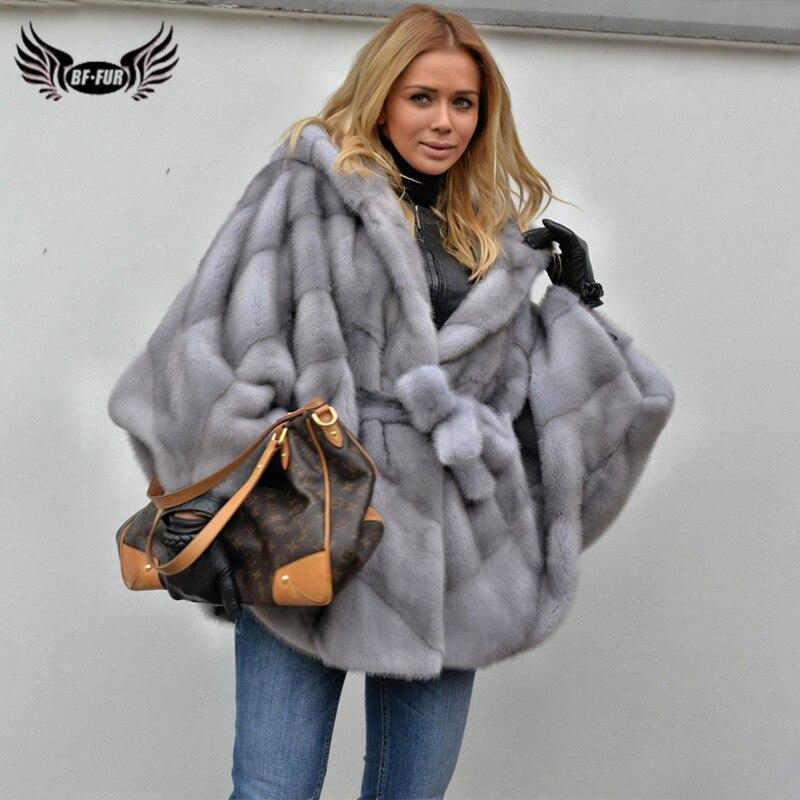 BFFUR 2019 Real Mink Fur Coat For Women Full Pelt Genuine Mink Fur Jacket Bat Sleeved Winter Woman Luxurious Natural Fur Coats