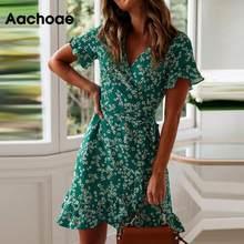 Aachoae 女性ドレス夏 2020 セクシーな v ネック花柄自由奔放に生きるフリル半袖 a ラインミニドレスサンドレスローブ