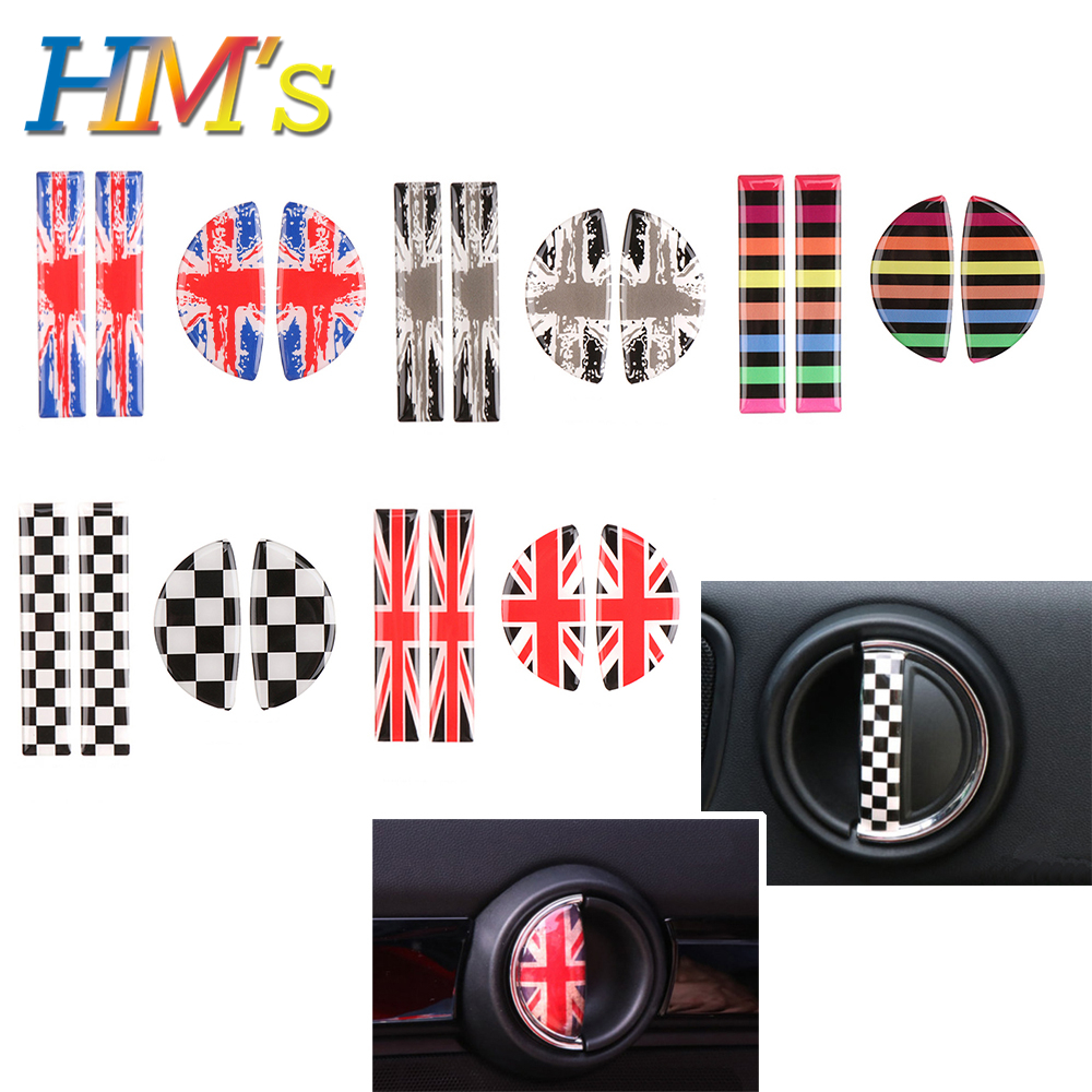Interior Car Decoration Accessories Front Rear Door Handle Sticker Car Decal Styling Accessories For Mini Cooper F55 F56 F60 R60