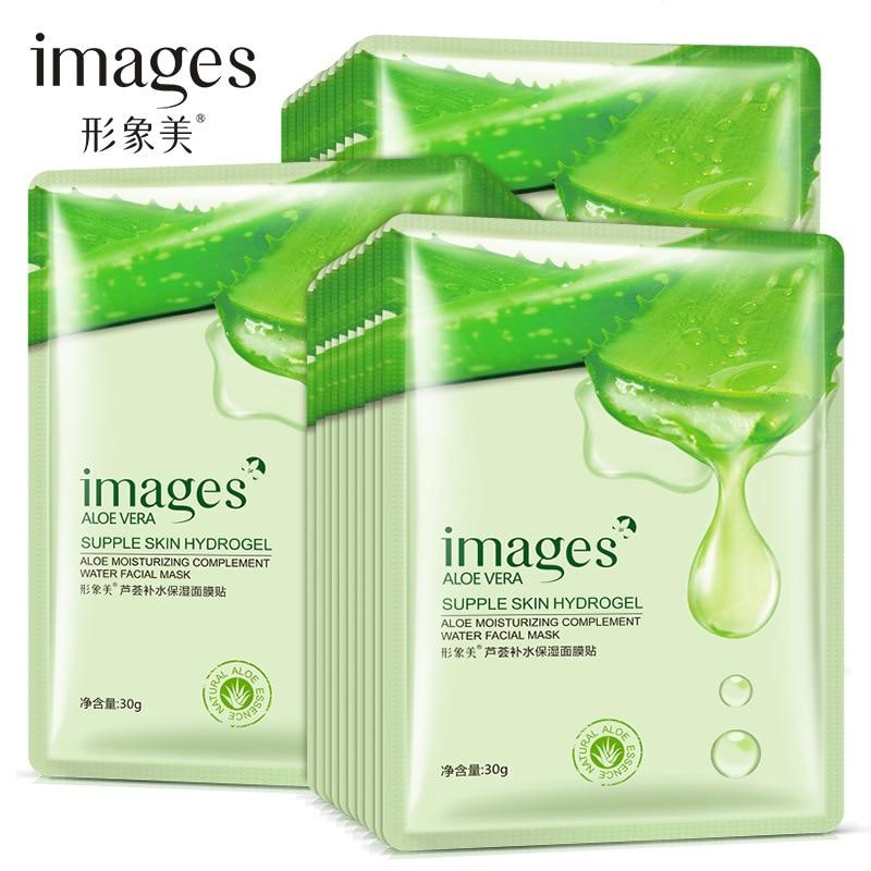 Aloe hidratação facial rosto folha máscara cuidados com a pele seda coreano maske cosméticos pacote rímel coreana acne visage tratamiento
