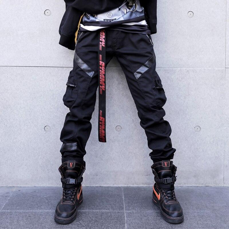 Black Cargo Pants Men Women Leather Patchwork Tactical Pants 2019 Autumn Multi-pocket Hip Hop Trousers Fashion Streetwear W0093