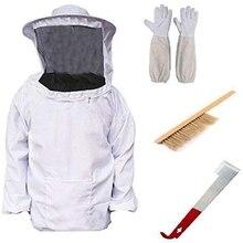 Легко-пчеловодство оборудование для пчеловодства инструмент 4 шт./компл. дышащая куртка вуаль с длинным рукавом перчатки щетка с Сотами J крюк Honeyc