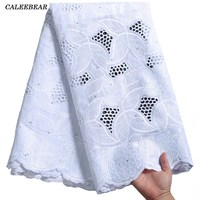 Último blanco 100% de algodón tela africana de encaje de alta calidad 2021 de encaje bordado encaje nigeriano con Voile suizo en Suiza S2280