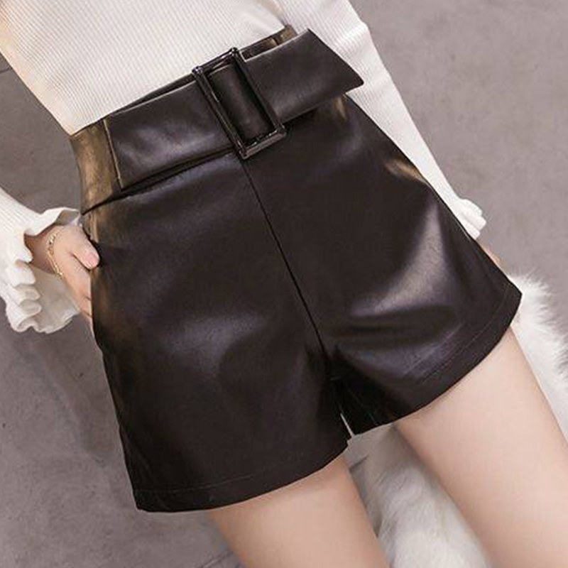 High Waist Loose PU Leather Shorts Women Solid Belt Width-leg Shorts Autumn Winter Female Fashion Simple Wild Shorts Streetwears