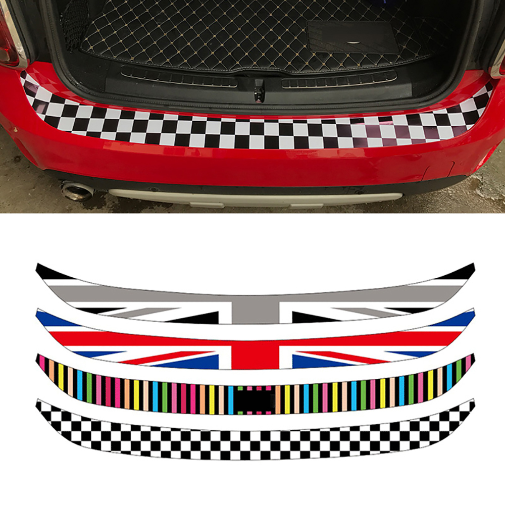 Car-Styling Union Jack Car Rear Bumper Decoration Sticker Trunk Load Edge Protection Decal For Mini Cooper R55 R56 R60 F55 F56