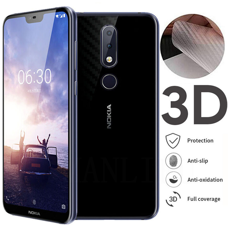 5Pcs/lot 3D Guard Carbon Fiber Film For <font><b>Nokia</b></font> 3.1 6.1 5.1 Plus 6.2 <font><b>7.2</b></font> 2.2 3.2 4.2 7 Plus Back Cover Protective <font><b>Screen</b></font> <font><b>Protector</b></font> image