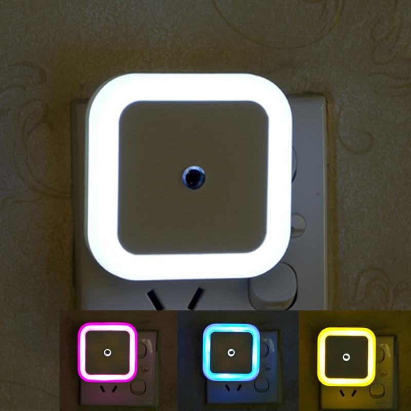 LED Night Light 110V 220V EU US Plug Light Sensor Control Mini Square Night Lights For Children Kid Living Room Bedroom Lighting