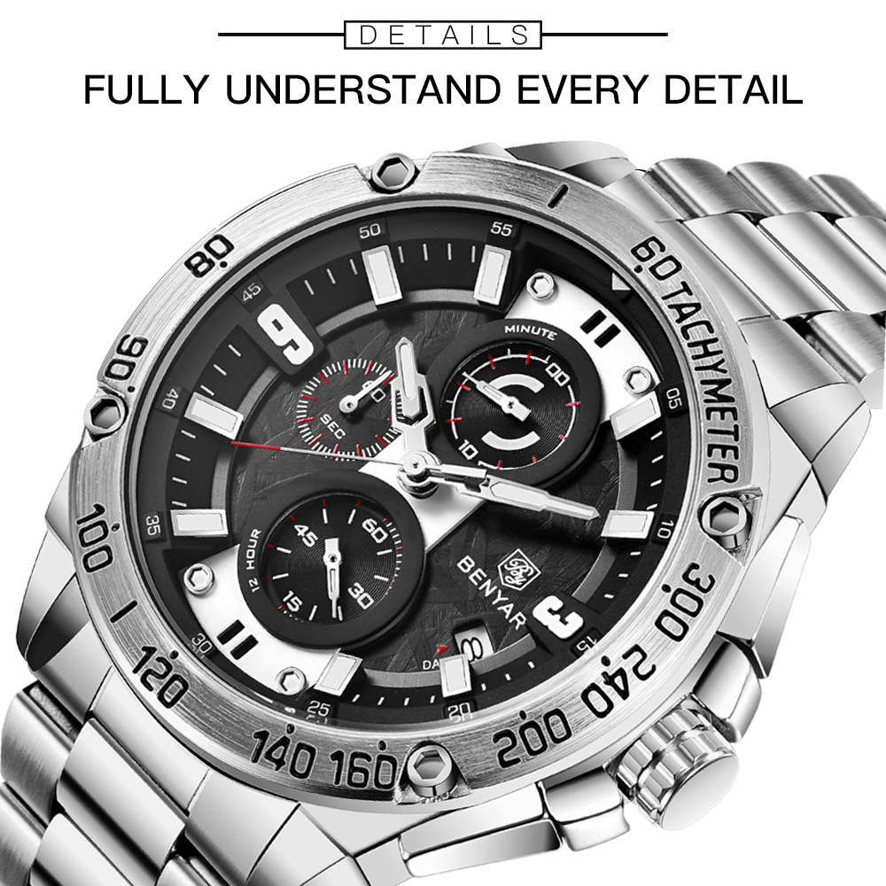BENYAR Quartz Mens Watches Top Brand Luxury Watch Man Steel Waterproof Sport Mens Wristwatch Chronograph Relogio Masculino 2019