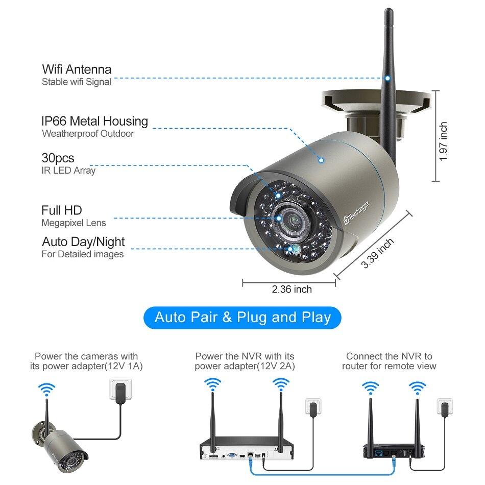 Techage 8CH 1080P bezprzewodowy System NVR kamera IP CCTV 8 sztuk 2MP Audio Record Wifi odkryty IR CUT wideo bezpieczeństwa zestaw do nadzorowania