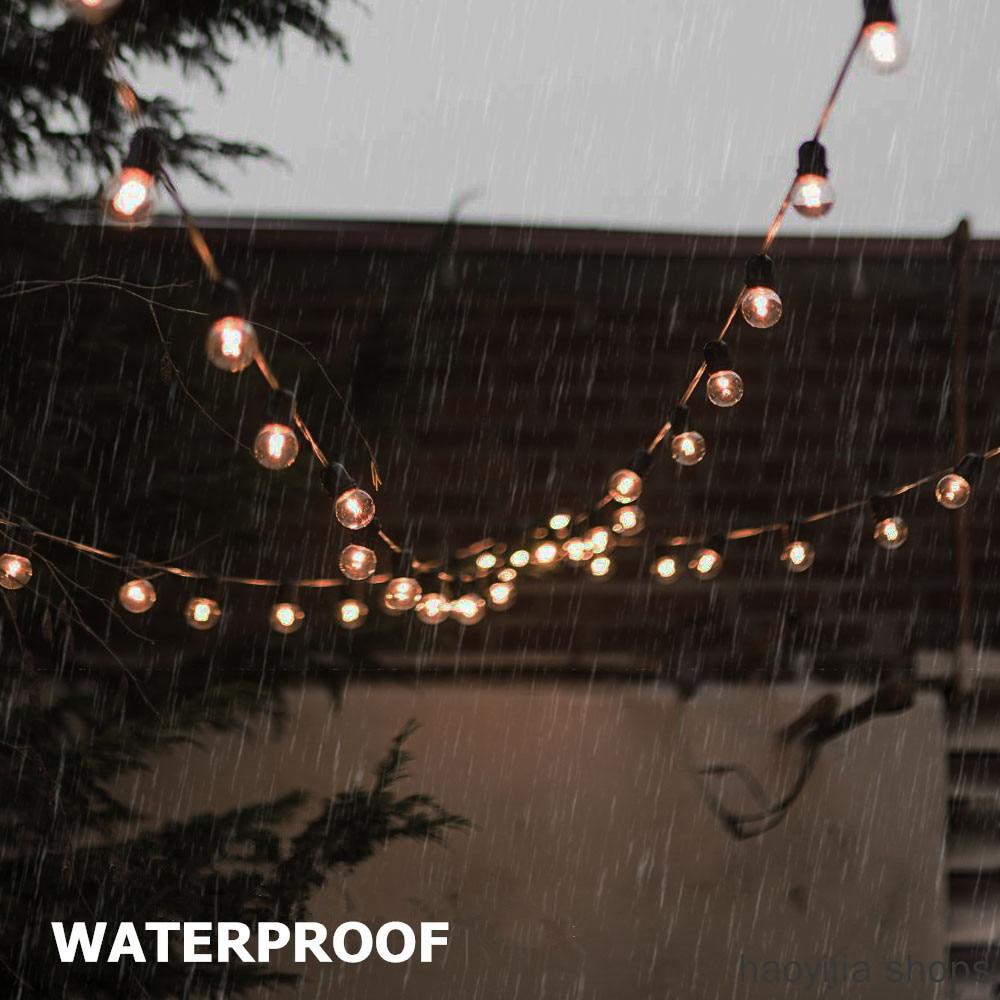 New Edison Light String G40 Retro Glass Light 5/10 Meters Garden Solar Light Garland Bulb Outdoor Waterproof Party Light