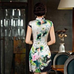 Image 3 - Новое шелковое платье Ципао с короткими рукавами для весны и лета 2019