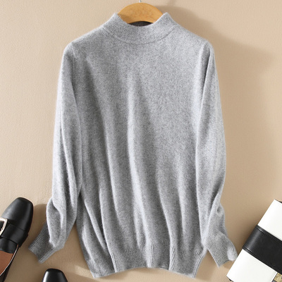 Women Cashmere 2021 New Autumn Winter Vintage Half Turtleneck Sweaters Plus Size Loose Wool Knitted Pullovers Female Knitwear11 19