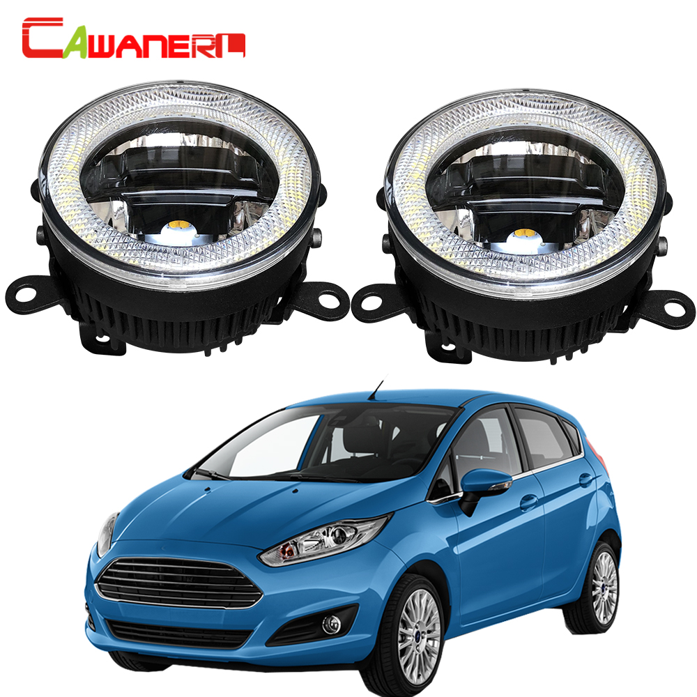 Cawanerl 2 Pieces Car LED Bulb Fog Light Daytime Running Lamp Angel Eye DRL 12V <font><b>Accessories</b></font> For <font><b>Ford</b></font> <font><b>Fiesta</b></font> 2001-2015 image