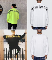 19SS Palm Angels T Shirts long sleeves Top Version 1:1 Palm Angels Big logo print Tees Oversize Palm Angels T Shirts men women