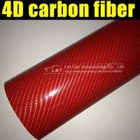 Lámina de revestimiento de vinilo para coche, Película de vinilo de fibra de carbono brillante de colores brillantes 4D rojo Película de vinilo de fibra de carbono