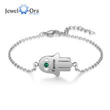 Hand-Bracelet Engraving-Name Stainless-Steel Birthstone Custom Jewelora Personalized