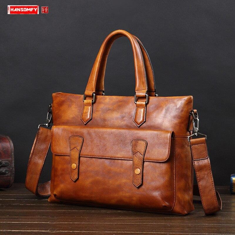 Leather Handbag Men's Bag Casual Shoulder Messenger Bag Business Briefcase Document Computer Bag Korean Fashion Leather Bags