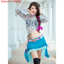 Belly Dance Practice Training Clothes Autumn Sexy Beginners Lace Top 3 Layered Skirt Oriental Indian Dancing Competition Outfits