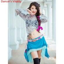 Ropa de entrenamiento para práctica de danza del vientre, ropa de otoño sexi para principiantes, falda de encaje con 3 capas, trajes de competición de danza India Oriental