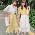 Одежда с цветочным принтом в Корейском стиле; Летняя Новинка; Желтое платье; Юбка; Футболка для девочек; Лучший подарок