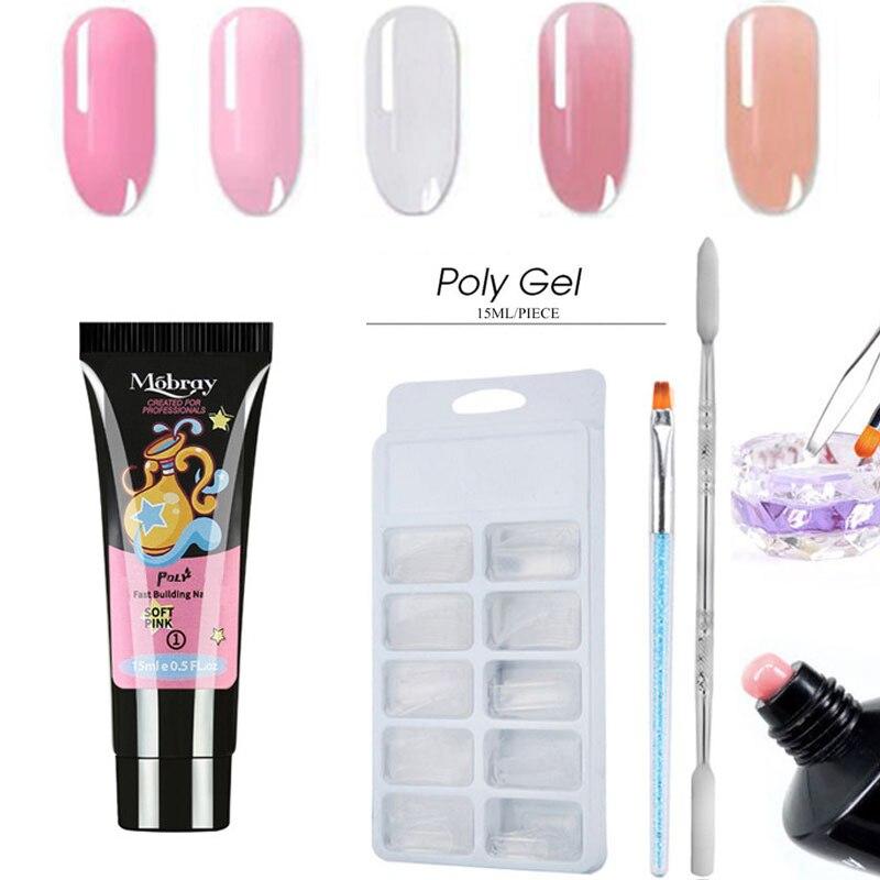 5 pçs/kit prego kit extensão conjunto de unhas uv gel polonês prego extensão construção rápida conjunto de escova de dedo unhas design|Gel para unhas|   -
