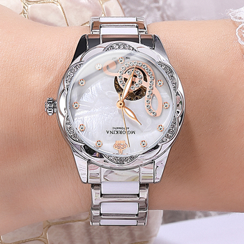 New Women's Watches 2021Diamond Luxury Design Ceramic Stainless Steel Strap Montre Femme Automatic Mechanical Relojes Para Mujer 1