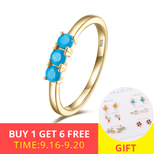 XiaoJing New collection 925 Sterling Silver Blue  Clear Stone Ring for Women Fashion Jewelry Party Gift free shipping 2019